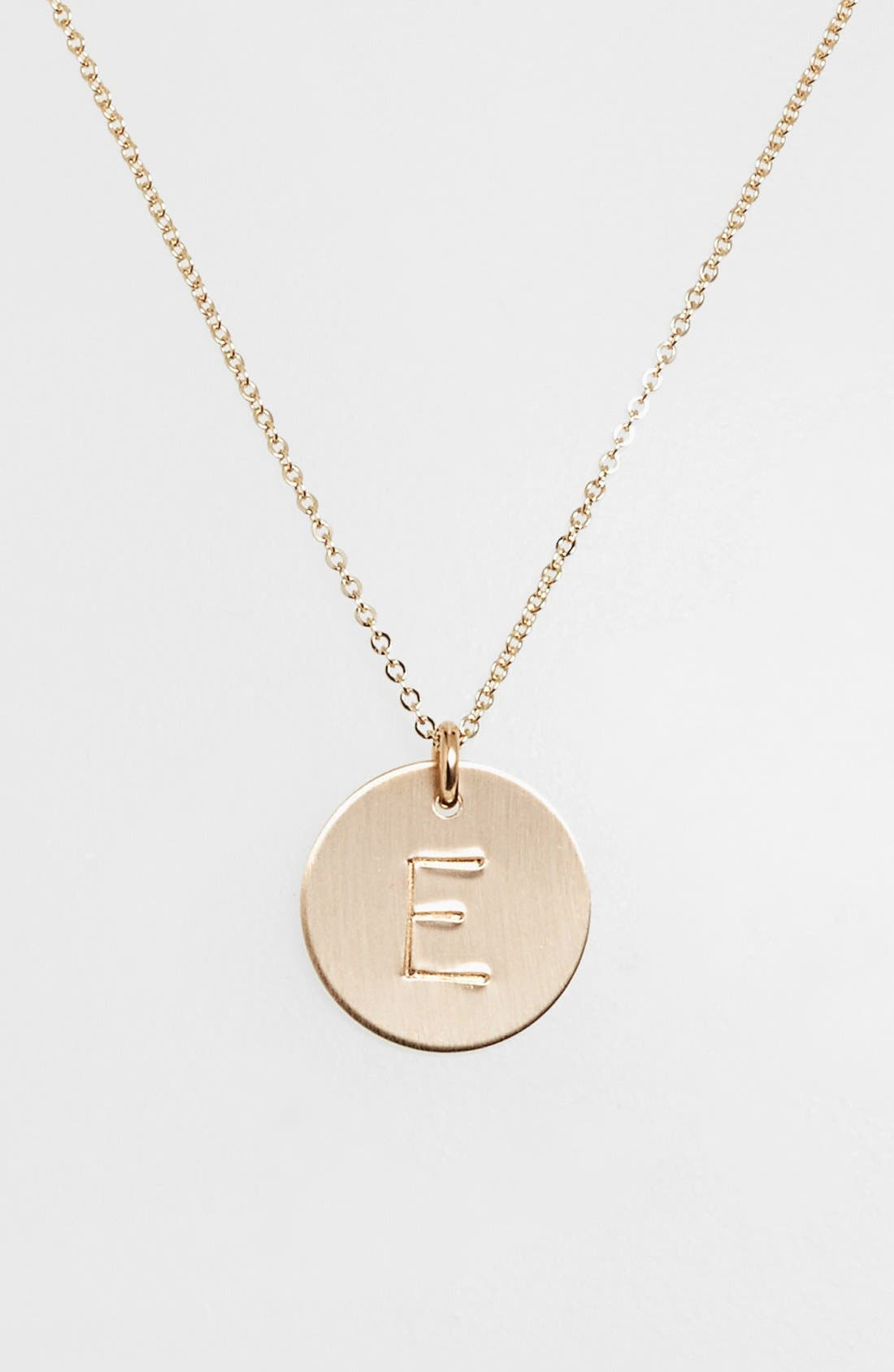 ,                             14k-Gold Fill Initial Disc Necklace,                             Main thumbnail 1, color,                             14K GOLD FILL E
