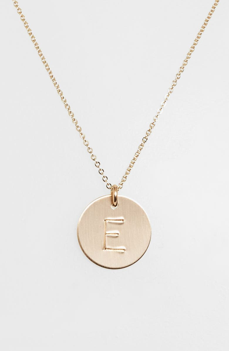 NASHELLE 14k-Gold Fill Initial Disc Necklace, Main, color, 14K GOLD FILL E