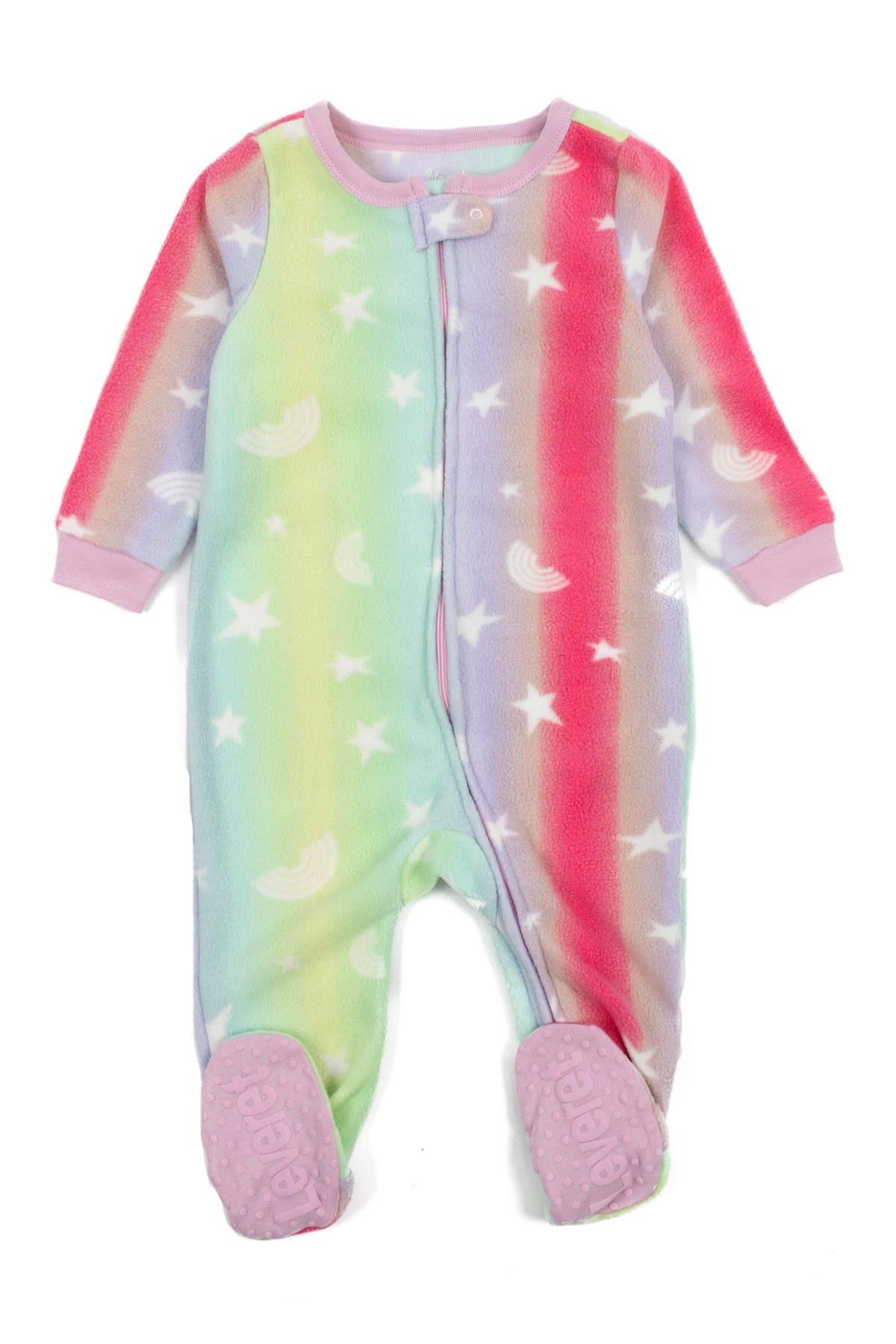 Image of Leveret Striped Star Fleece Footed Pajamas