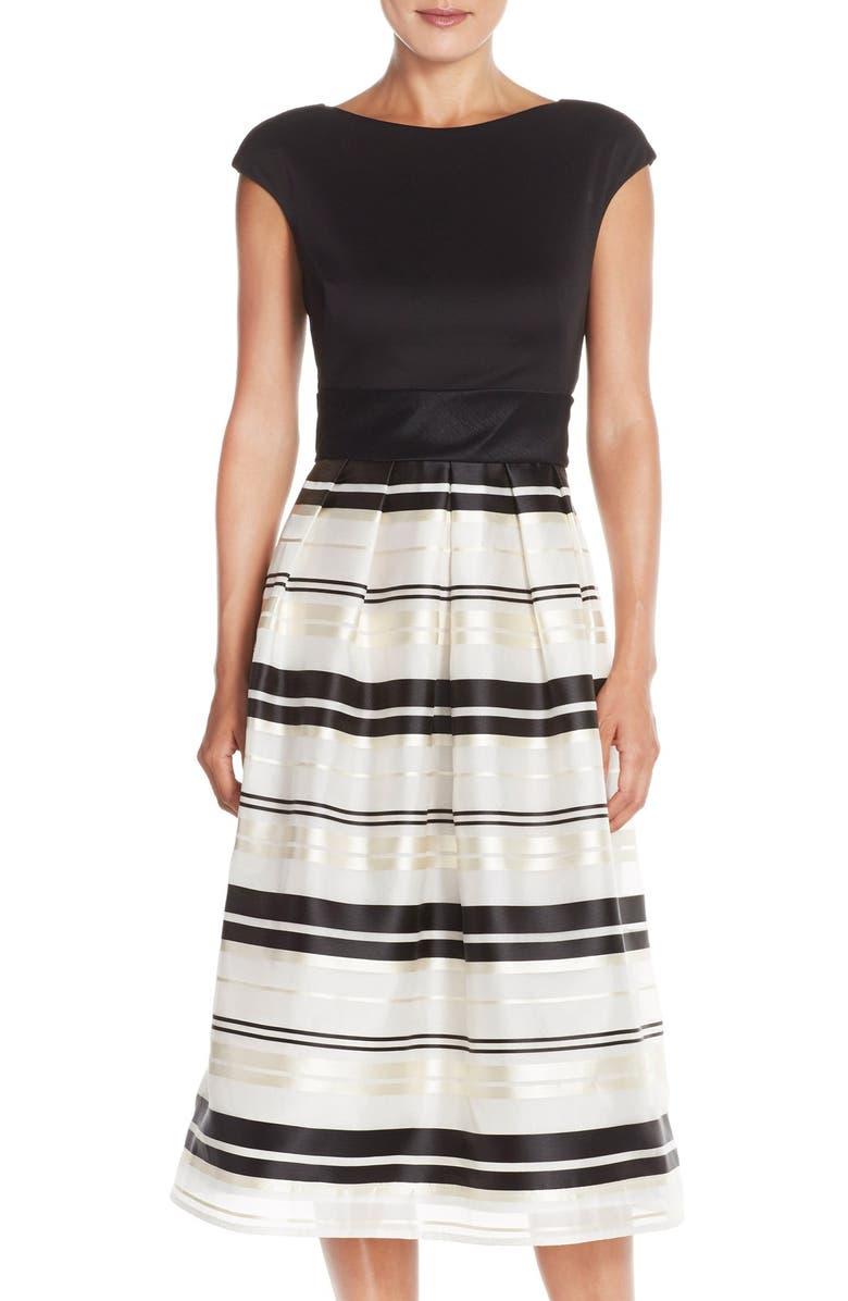 TAYLOR DRESSES Mixed Media Fit & Flare Dress, Main, color, 001