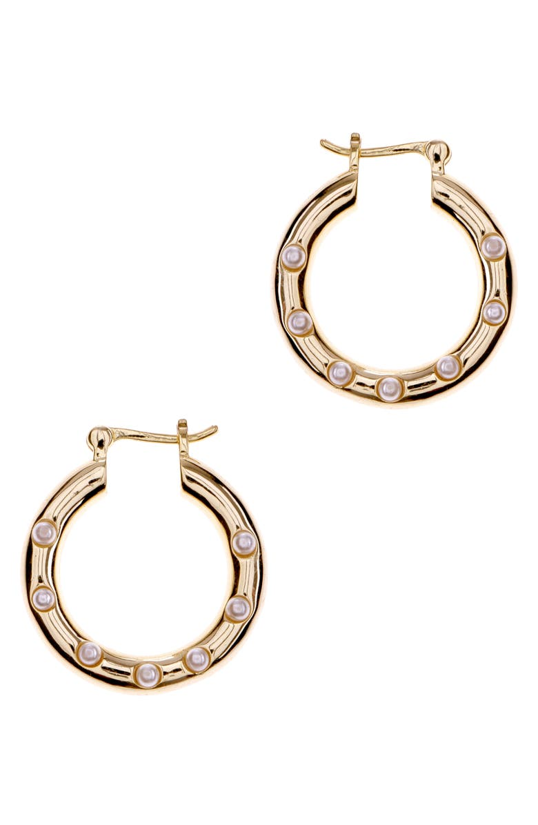 NAKAMOL CHICAGO Pearl Embellished Hoop Earrings, Main, color, PEARL/ GOLD