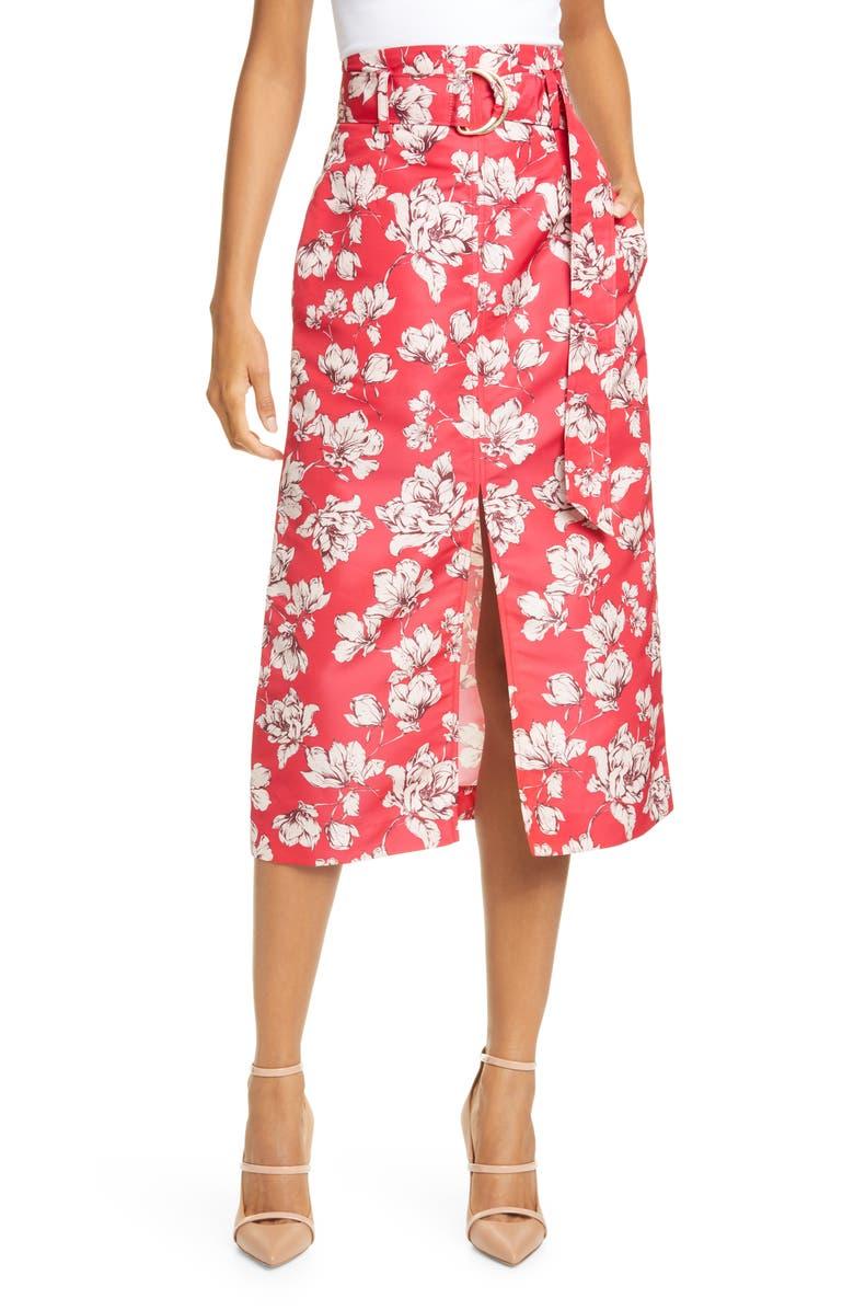 AMUR Odina Floral Print High Waist Skirt, Main, color, RASPBERRY WILD ROSE