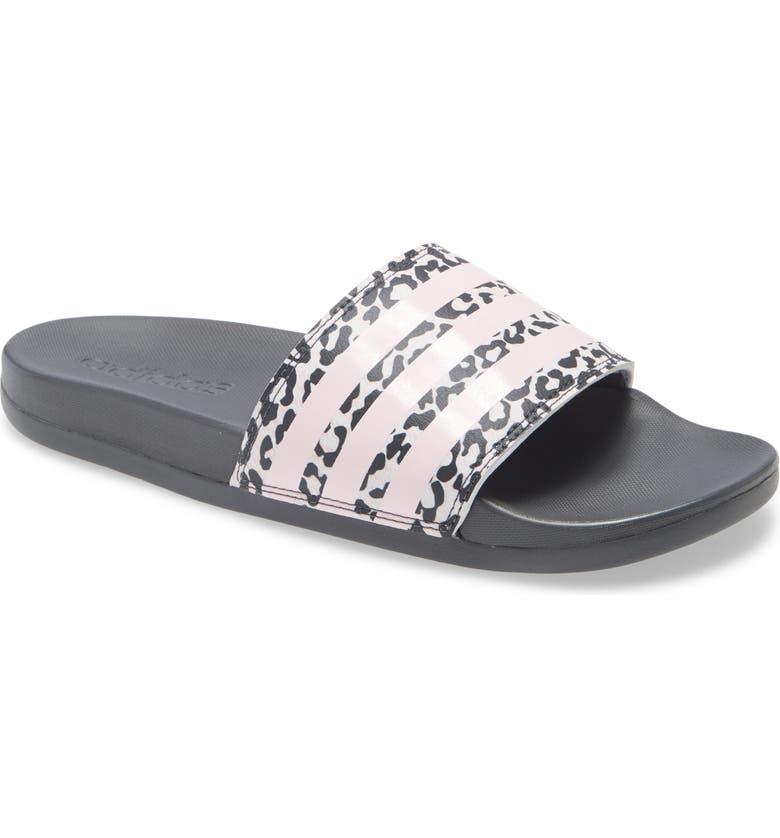 ADIDAS Adilette Comfort Slide Sandal, Main, color, GREY/ CLEAR PINK/ WHITE