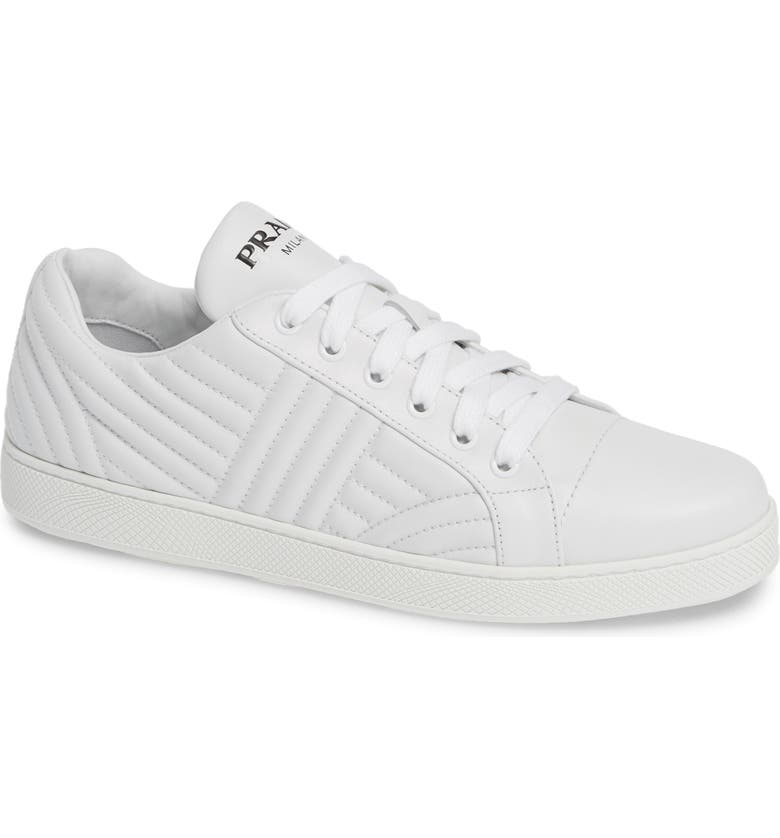 PRADA Quilted Low Top Sneaker, Main, color, WHITE/ BLACK