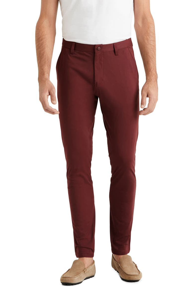 RHONE Commuter Slim Fit Pants, Main, color, BURGUNDY RED