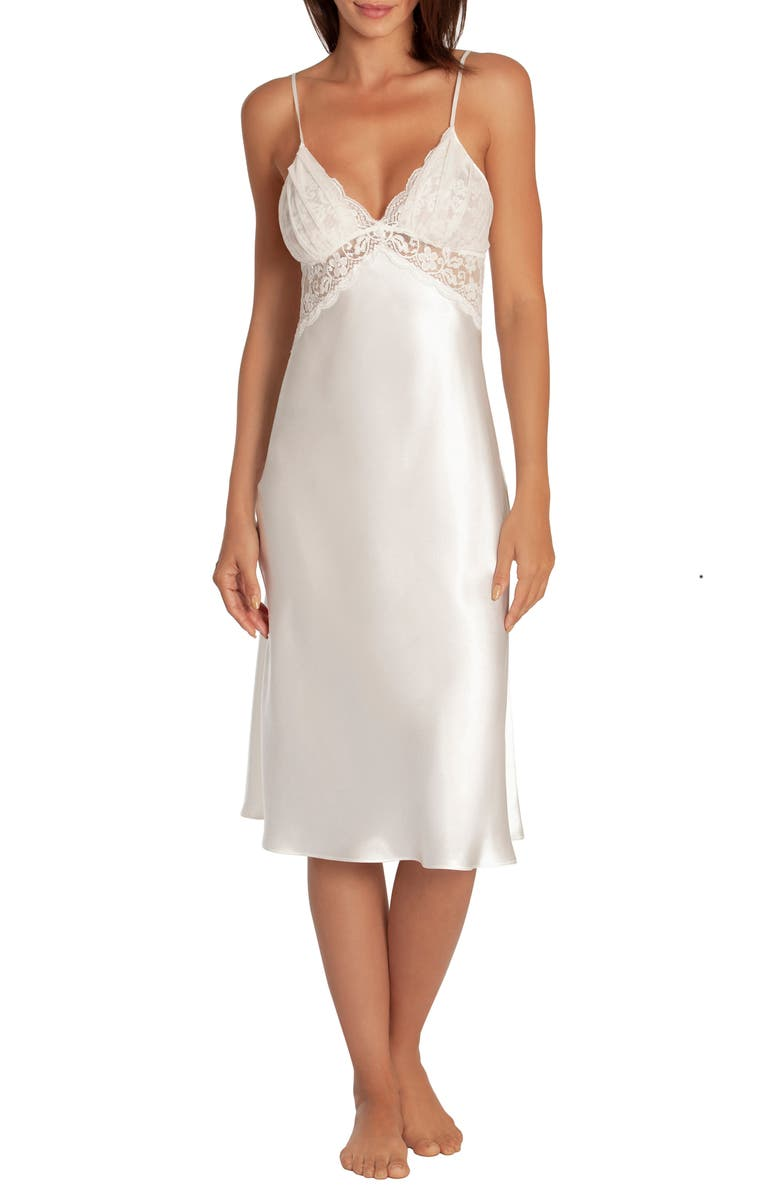 IN BLOOM BY JONQUIL Say Yes Satin & Lace Nightgown, Main, color, IVORY