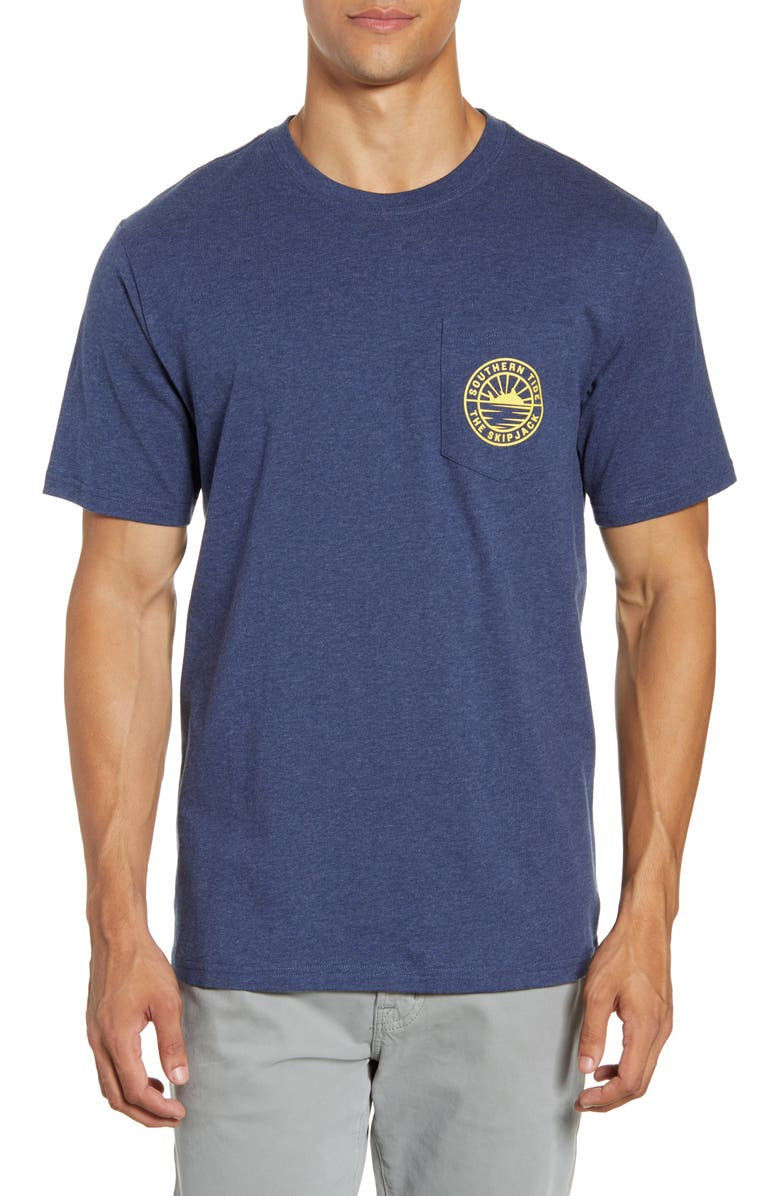 SOUTHERN TIDE Dawn of Skipjack Pocket T-Shirt, Main, color, HEATHER NAVY