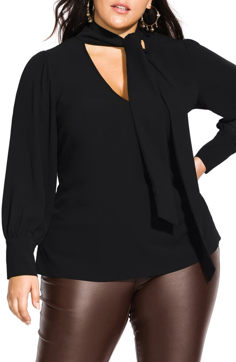 CITY CHIC Long Sleeve Tie Neck Top, Main, color, BLACK