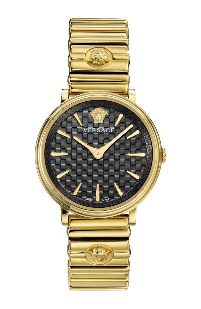 VERSACE V Circle Logo Bracelet Watch, 38mm, Main, color, GOLD/ BLACK/ GOLD
