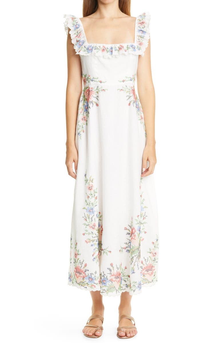 ZIMMERMANN Juliette Cross Stitch Floral Midi Dress, Main, color, IVORY