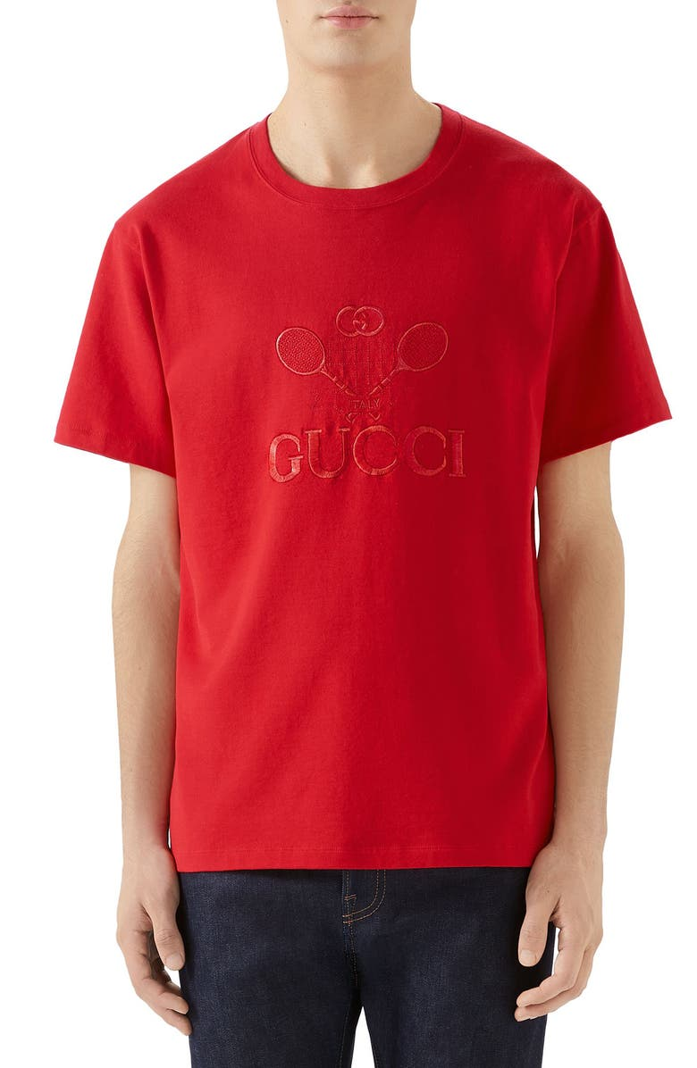 GUCCI Tennis Embroidered Cotton T-Shirt, Main, color, LIVE RED