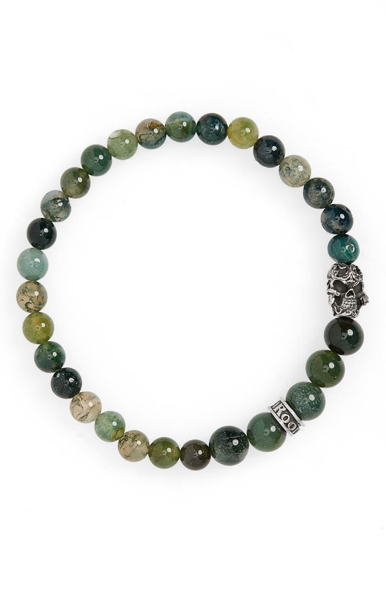 ROOM101 Moss Agate Skull Bead Bracelet, Main, color, GREEN