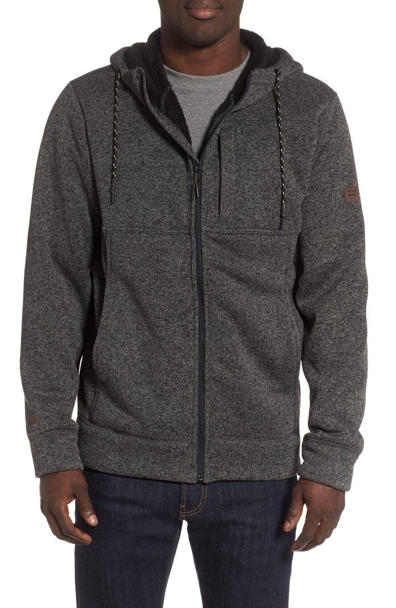 BILLABONG Boundary Fleece Lined Zip Hoodie, Main, color, BLACK HEATHER