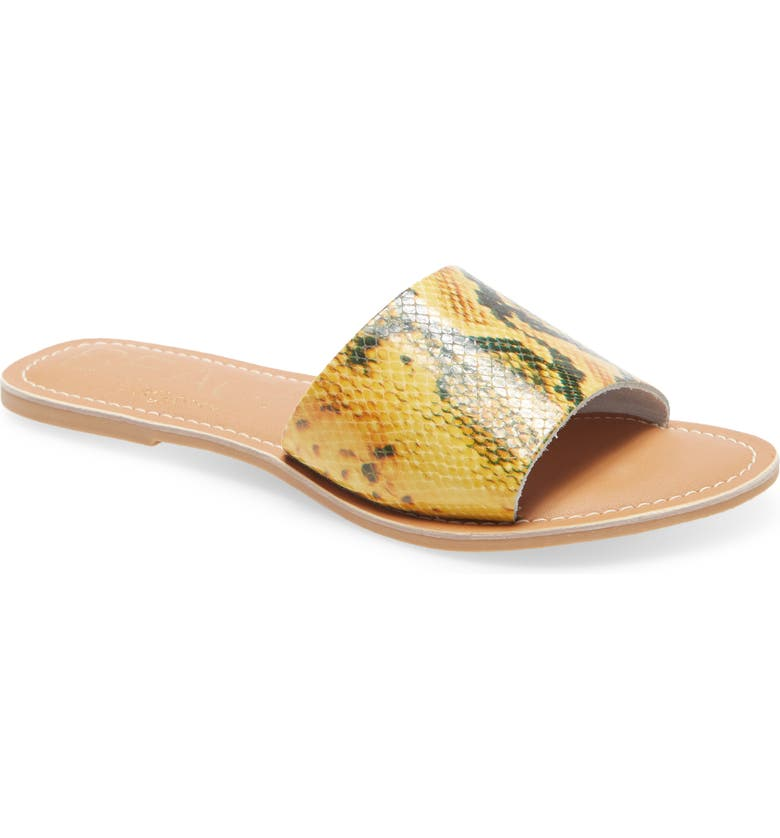 BEACH BY MATISSE Coconuts by Matisse Cabana Slide Sandal, Main, color, YELLOW SNAKE PRINT LEATHER