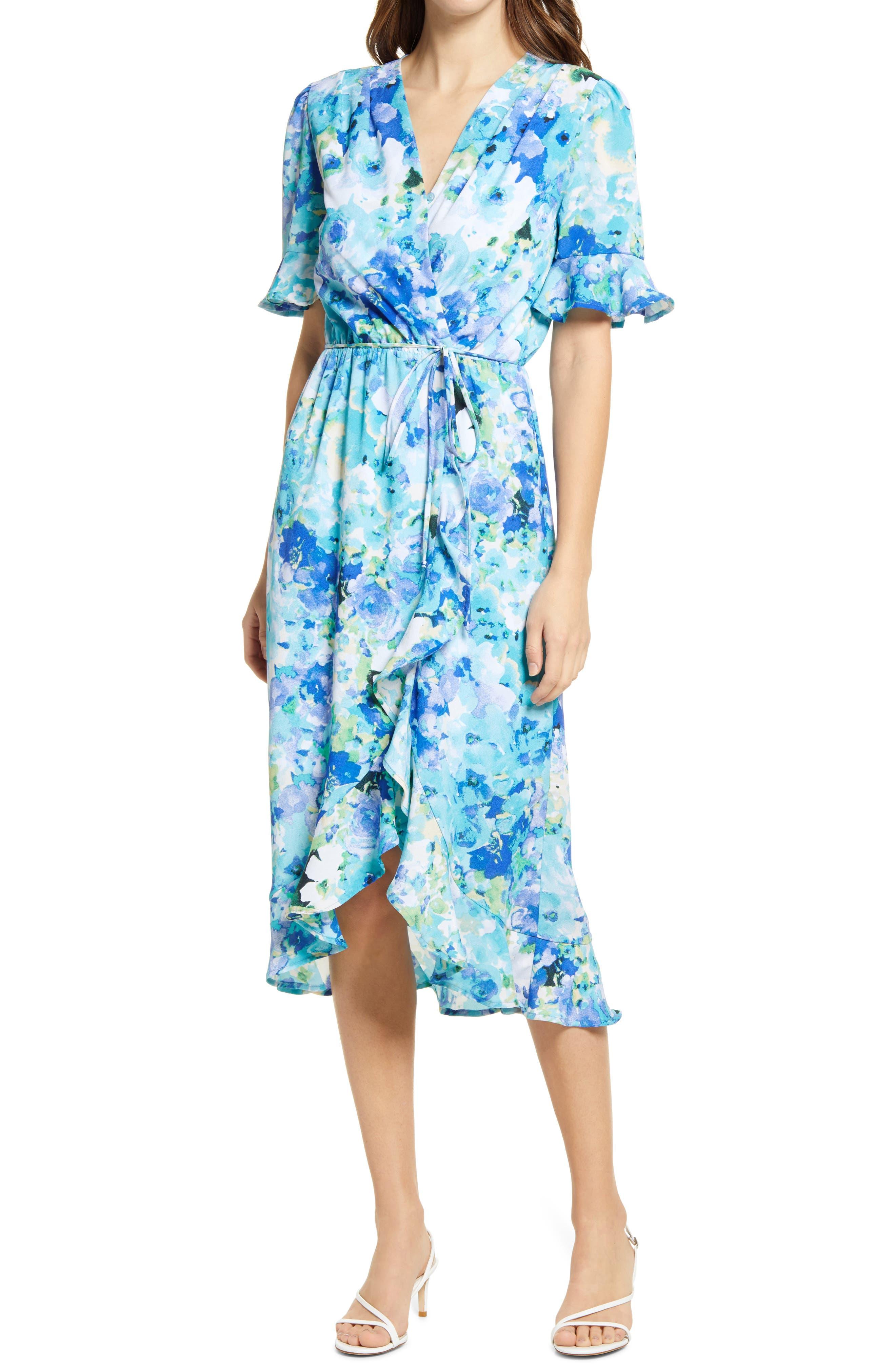 Paran Floral Print High/low Faux Wrap Dress