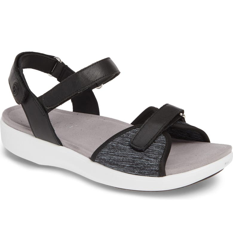 ALEGRIA Qali Sandal, Main, color, BLACK LEATHER