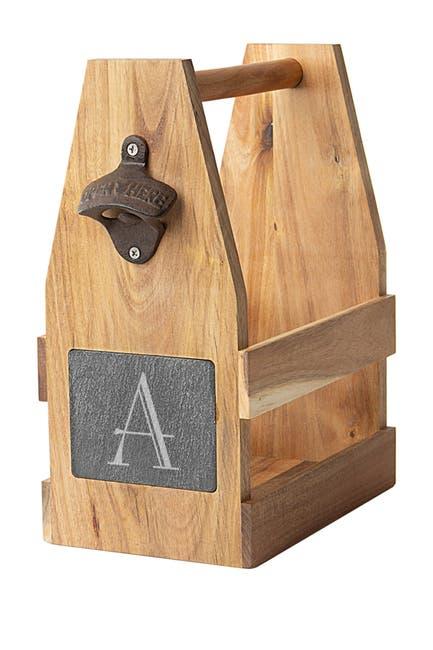 Image of Cathy's Concepts Personalized Acacia Slate Beer Carrier - Multiple Letters Available