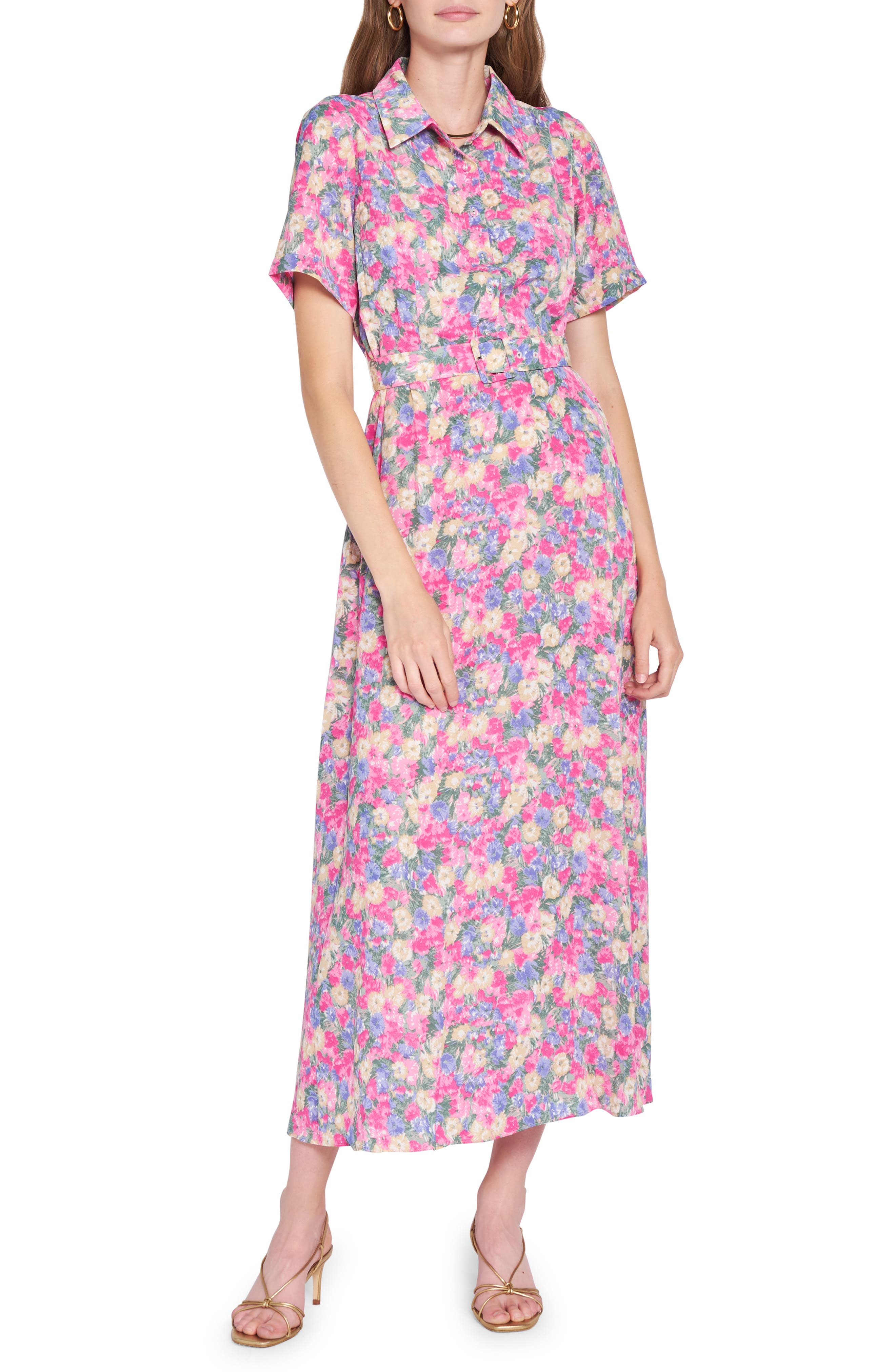 Floral Print Belted Shirtdress