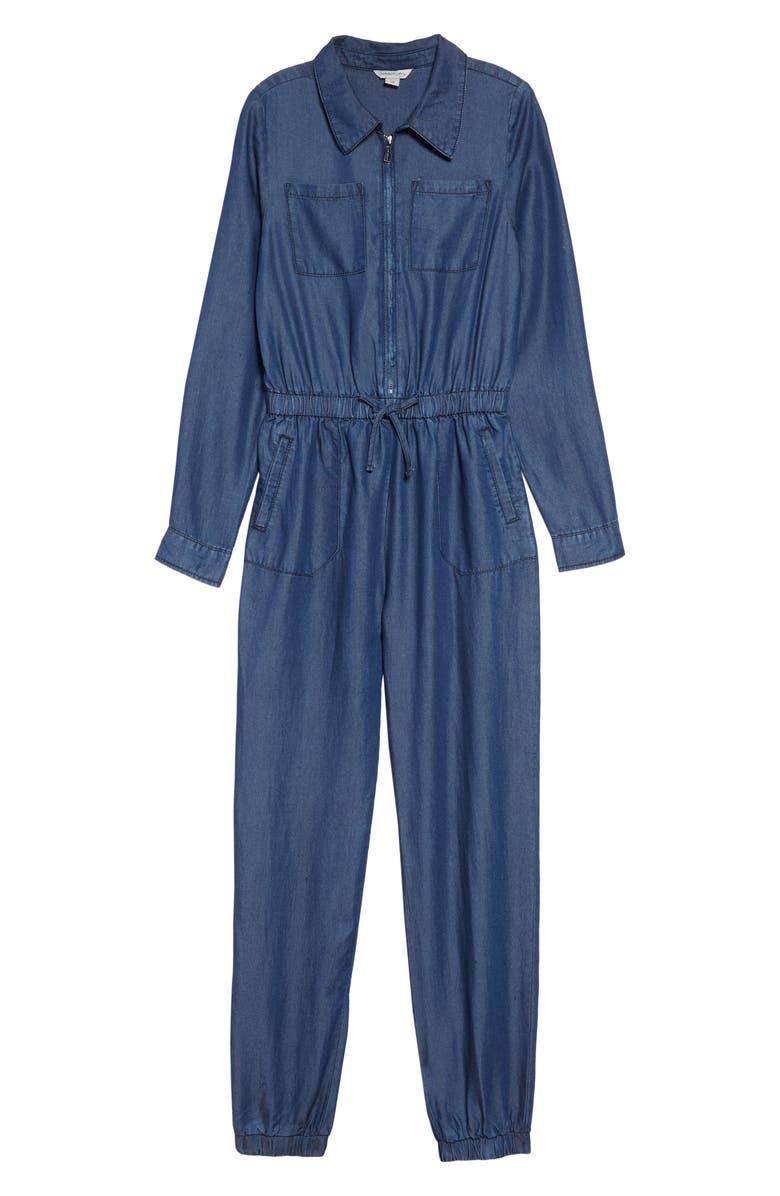 HABITUAL Noah Heathered Long Sleeve Jumpsuit, Main, color, DARK STONE