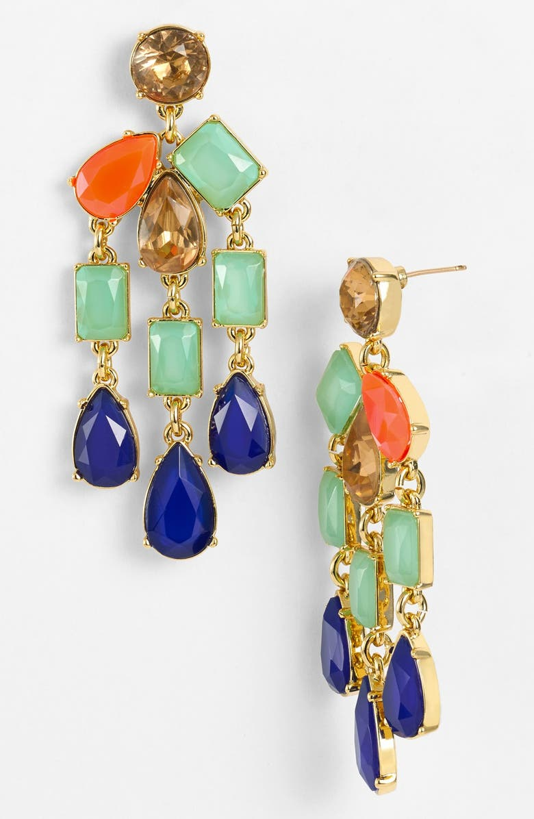 KATE SPADE NEW YORK 'riviera garden' stone chandelier earrings, Main, color, 440