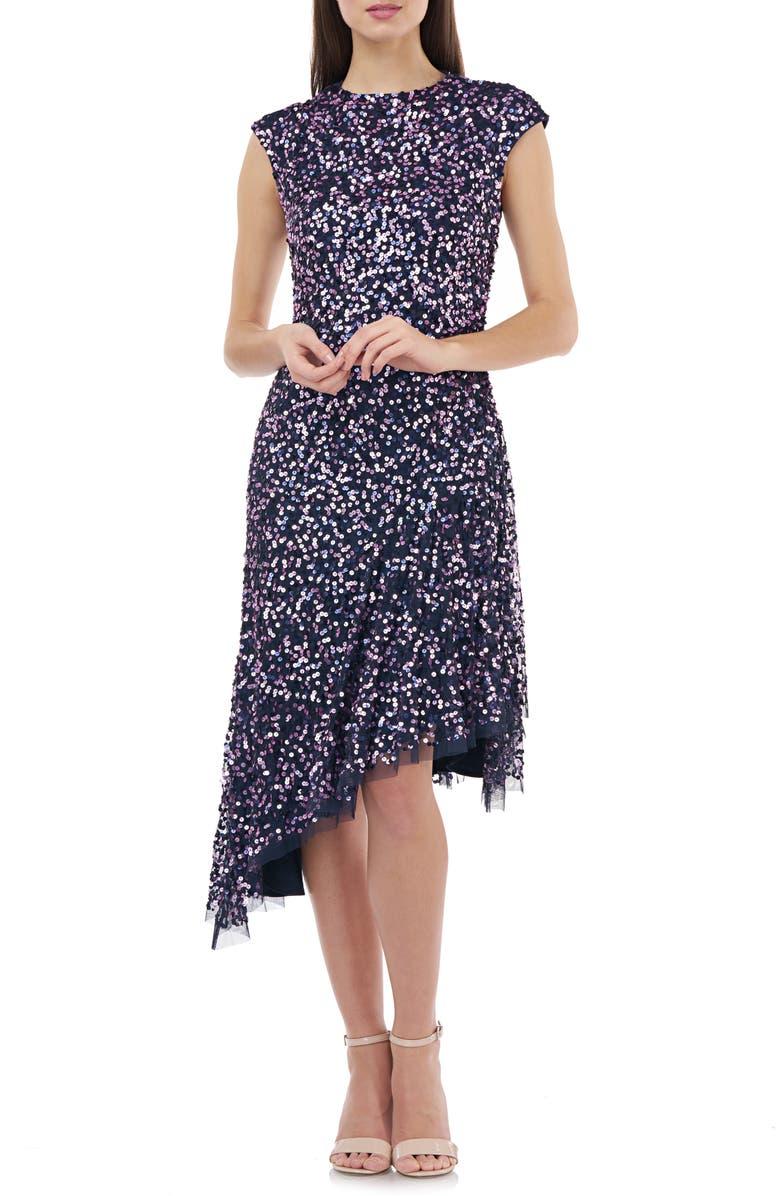 JS COLLECTIONS Multicolor Sequin Asymmetrical Cocktail Dress, Main, color, NAVY PURPLE