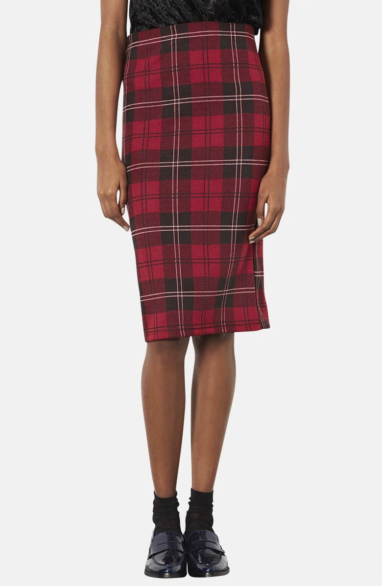 TOPSHOP Plaid Tube Skirt, Main, color, 600