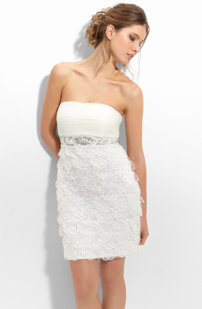 SUE WONG Strapless Chiffon & Organza Sheath Dress, Main, color, 100