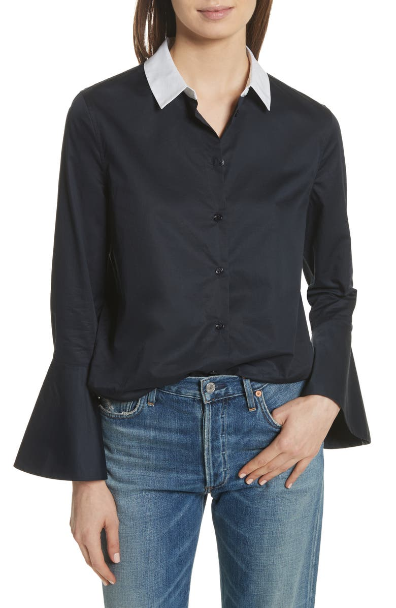 EQUIPMENT Darla Bell Cuff Shirt, Main, color, 005