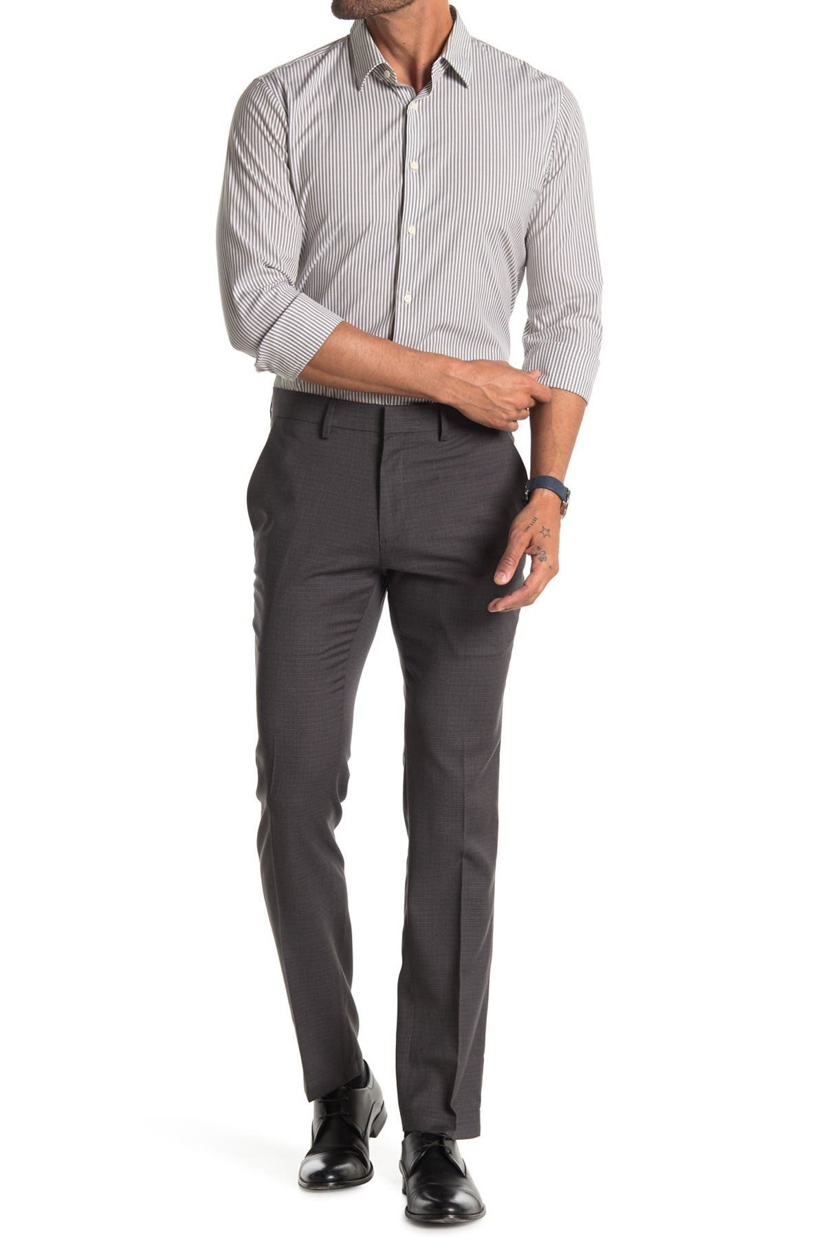 Image of Kenneth Cole Reaction Micro Check Houndstooth Skinny Dress Pant