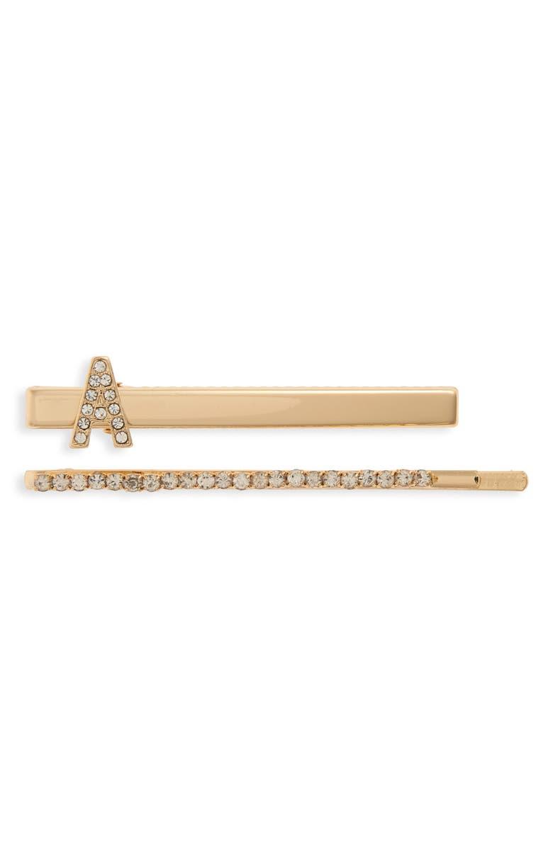 TASHA 2-Pack Crystal Salon Length Clips, Main, color, A/ GOLD