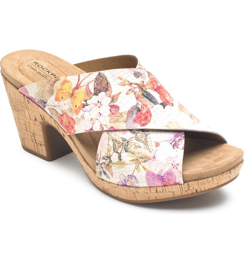 ROCKPORT COBB HILL Alleah Slide Sandal, Main, color, WHITE FLORAL LEATHER