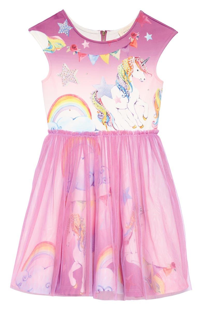 HANNAH BANANA Whimsy Unicorn Tutu Dress, Main, color, PURPLE
