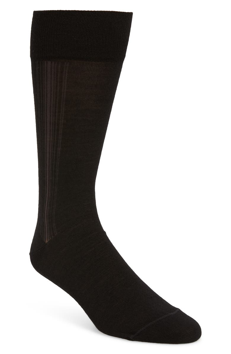 NORDSTROM SIGNATURE Nordstrom Men's Shop Stripe Dress Socks, Main, color, BLACK