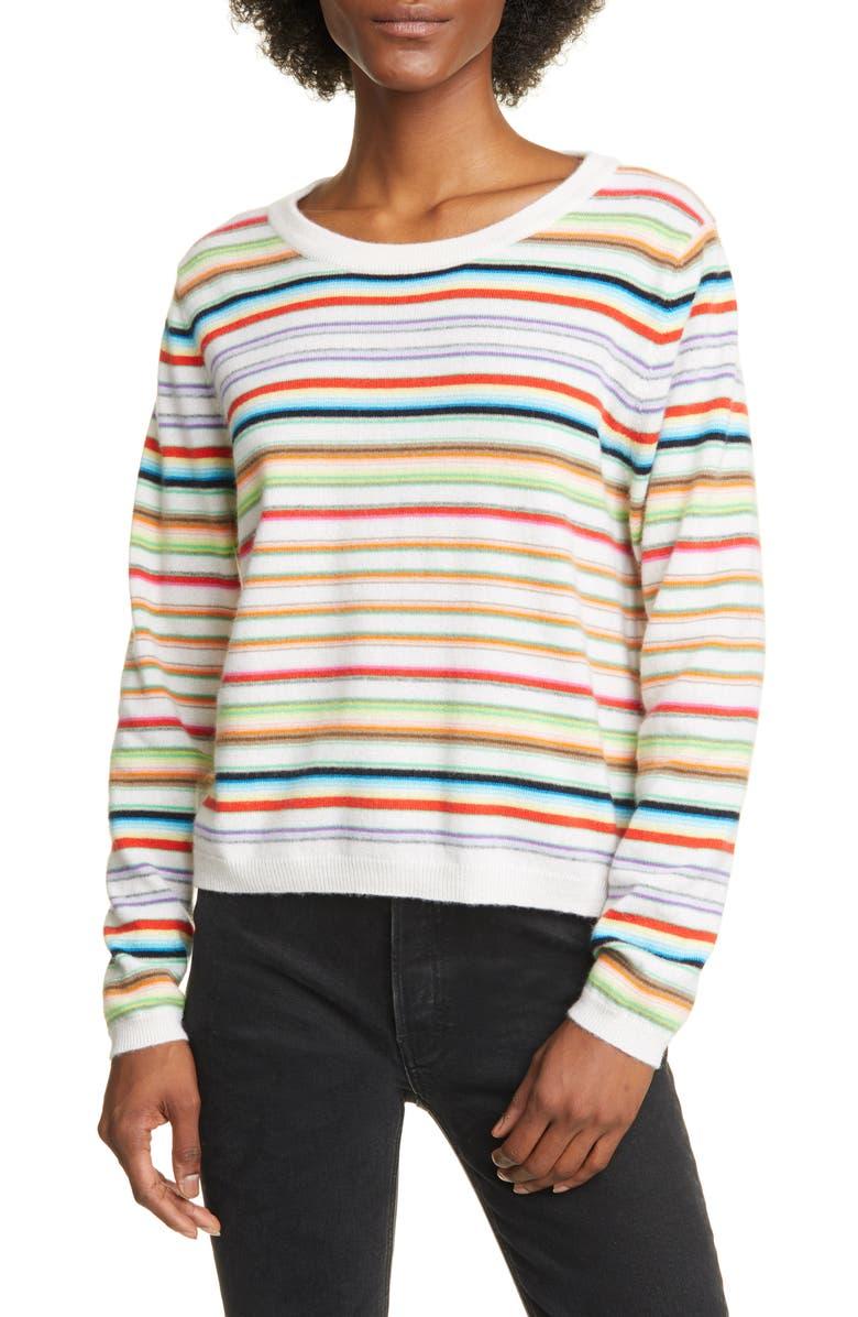 ALLUDE Stripe Cashmere Sweater, Main, color, MULTI RAINBOW