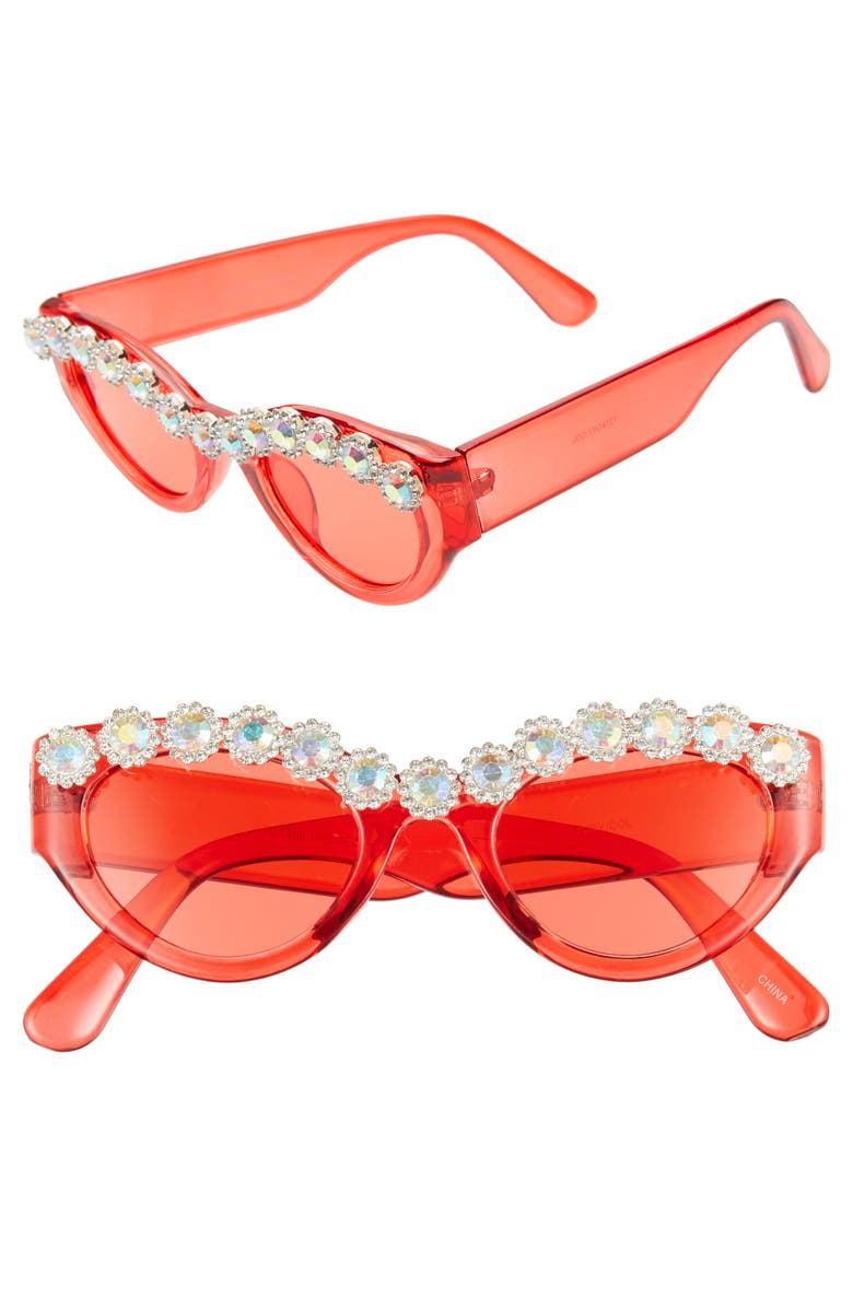 RAD + REFINED 50mm Chunky Crystal Embellished Sunglasses, Main, color, RED