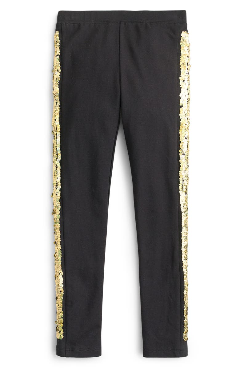 CREWCUTS BY J.CREW Flip Sequin Tuxedo Stripe Leggings, Main, color, BLACK GOLD SILVER