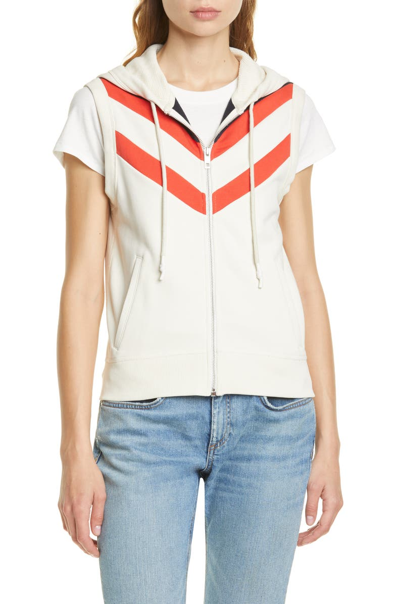 RAG & BONE Colorblock Chevron Hooded Zip Vest, Main, color, 112