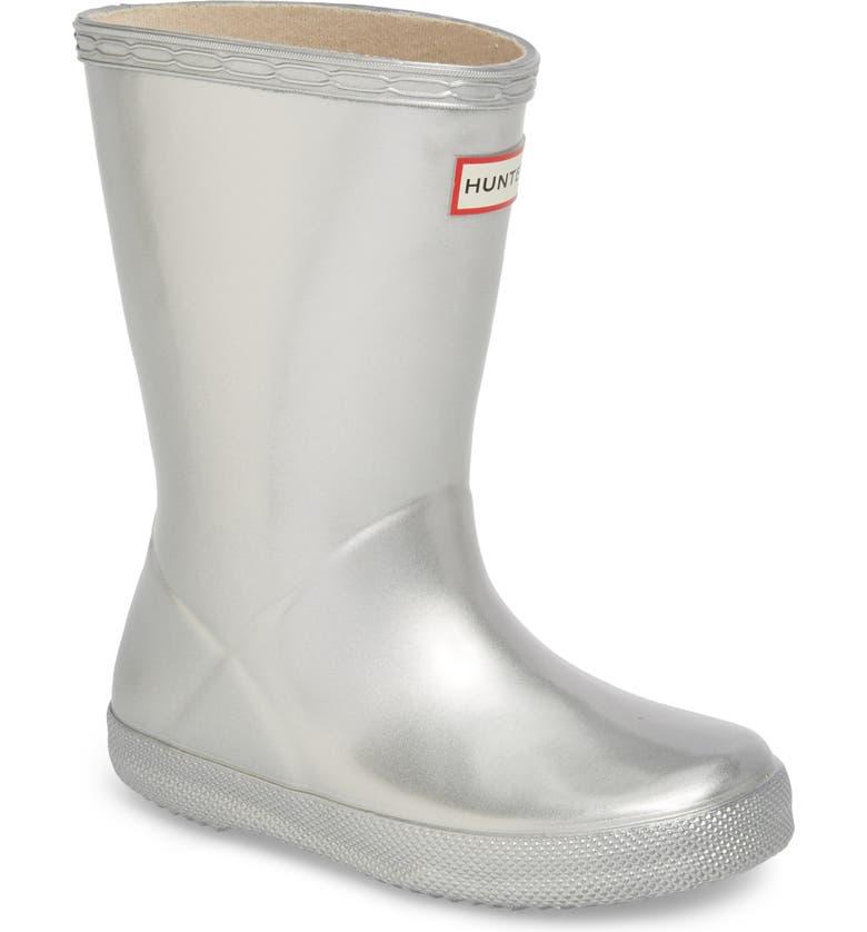 HUNTER First Classic Metallic Waterproof Rain Boot, Main, color, SILVER