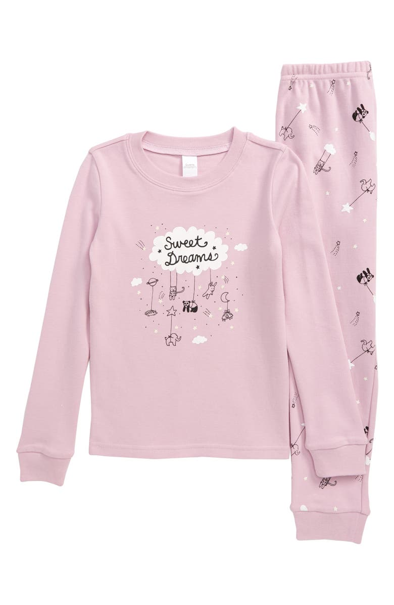 TUCKER + TATE Glow in the Dark Fitted Two-Piece Pajamas, Main, color, PURPLE FRAGRANT DREAMLAND