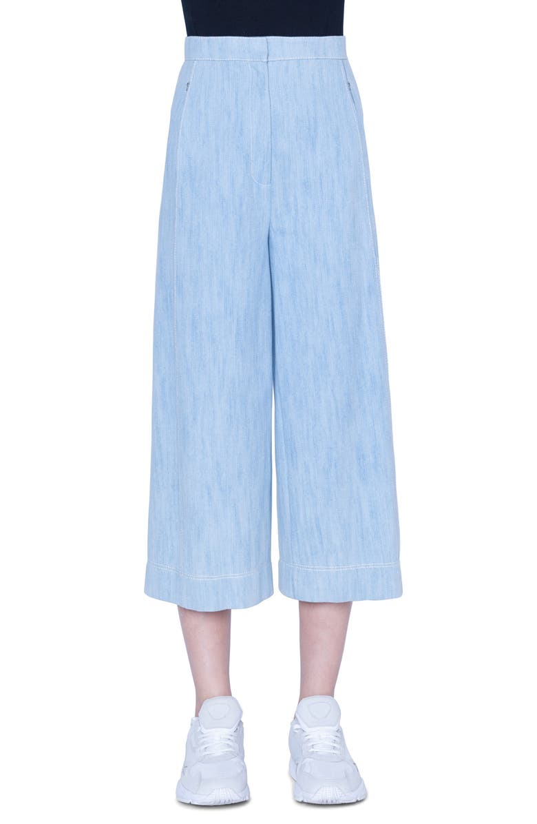 AKRIS PUNTO High Waist Chambray Culottes, Main, color, BLEACHED DENIM