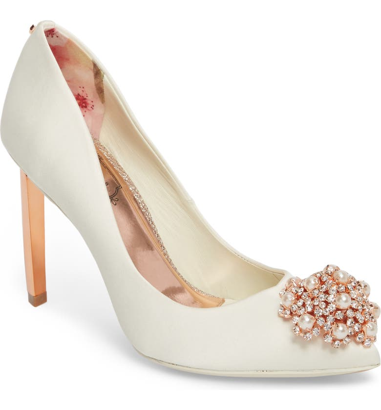 TED BAKER LONDON 'Peetch' Pointy Toe Pump, Main, color, IVORY SATIN