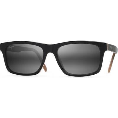 Maui Jim Waipio Valley 57Mm Polarized Sunglasses - Black & Grey & Tan H