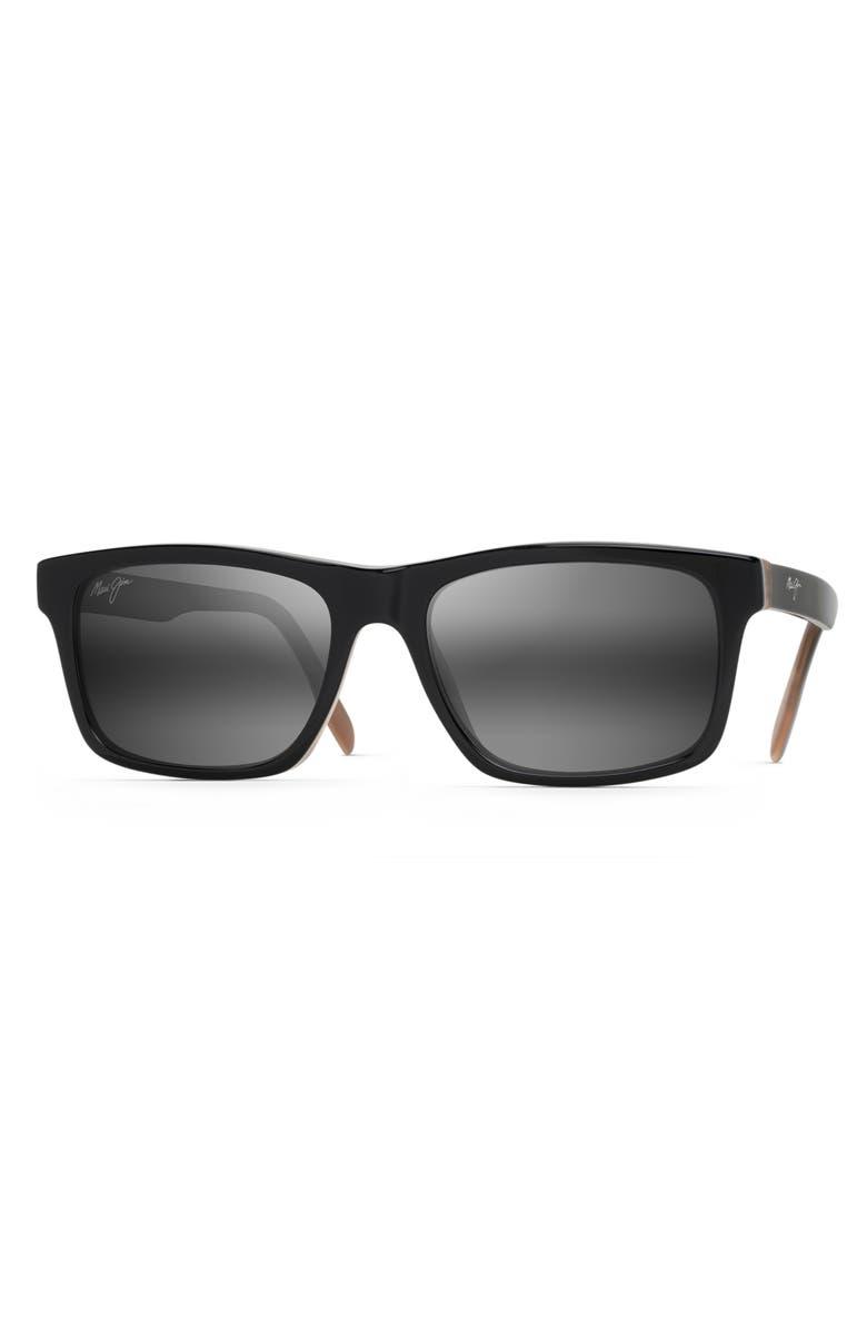 MAUI JIM Waipio Valley 57mm Polarized Sunglasses, Main, color, BLACK & GREY & TAN H