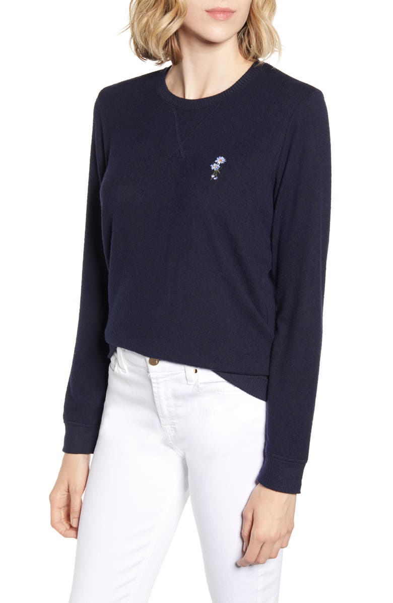 LUCKY BRAND Flower Embroidered Sweatshirt, Main, color, AMERICAN NAVY