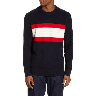 Tommy Hilfiger Ribbed Stripe Crewneck Sweater, Blue