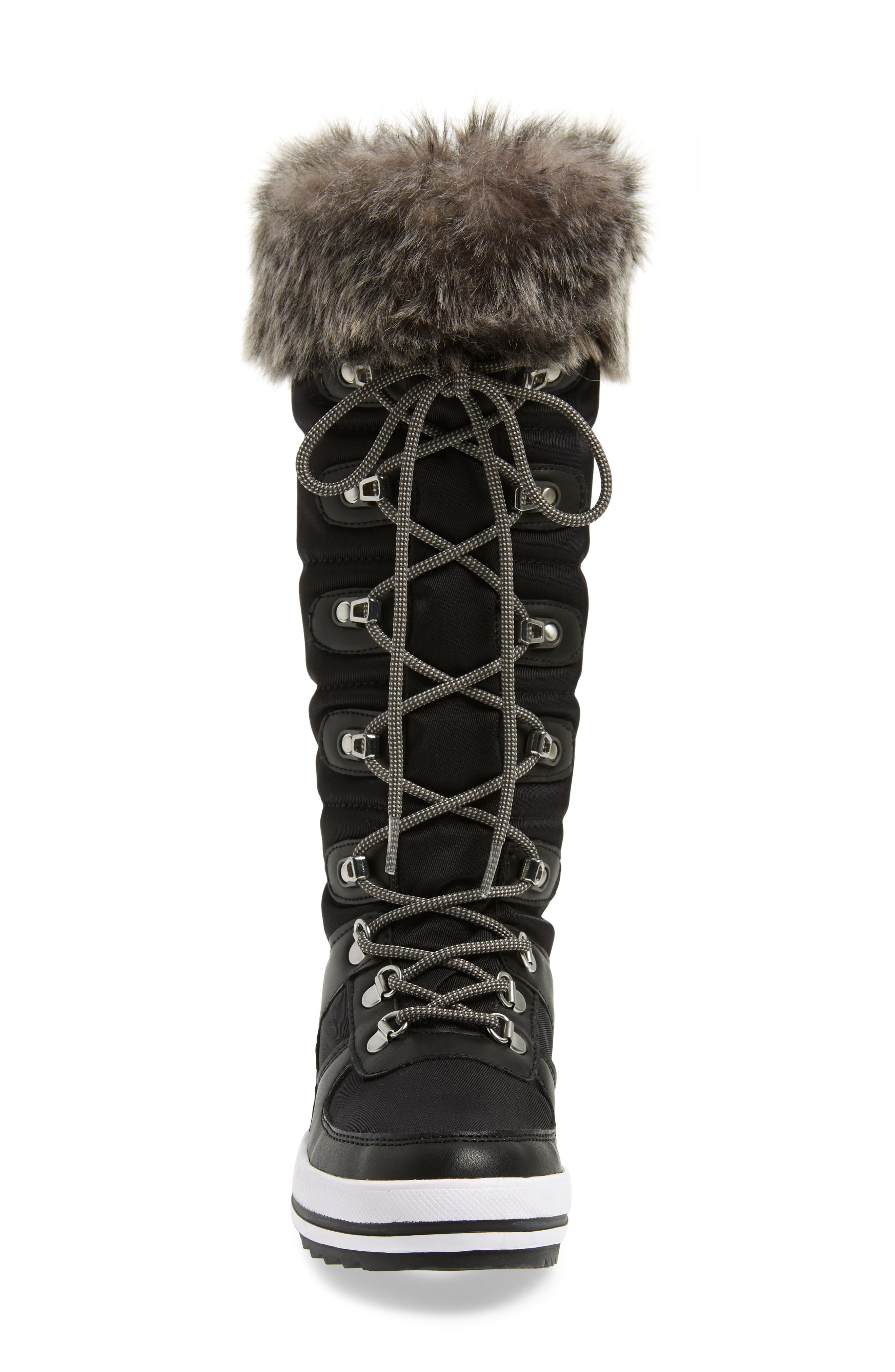 ,                             Vesta Faux Fur Collar Knee High Snow Boot,                             Alternate thumbnail 4, color,                             001