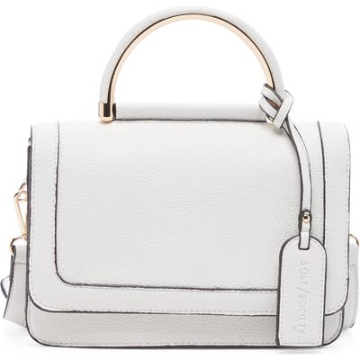Sole Society Small Evar Faux Leather Crossbody Bag - White