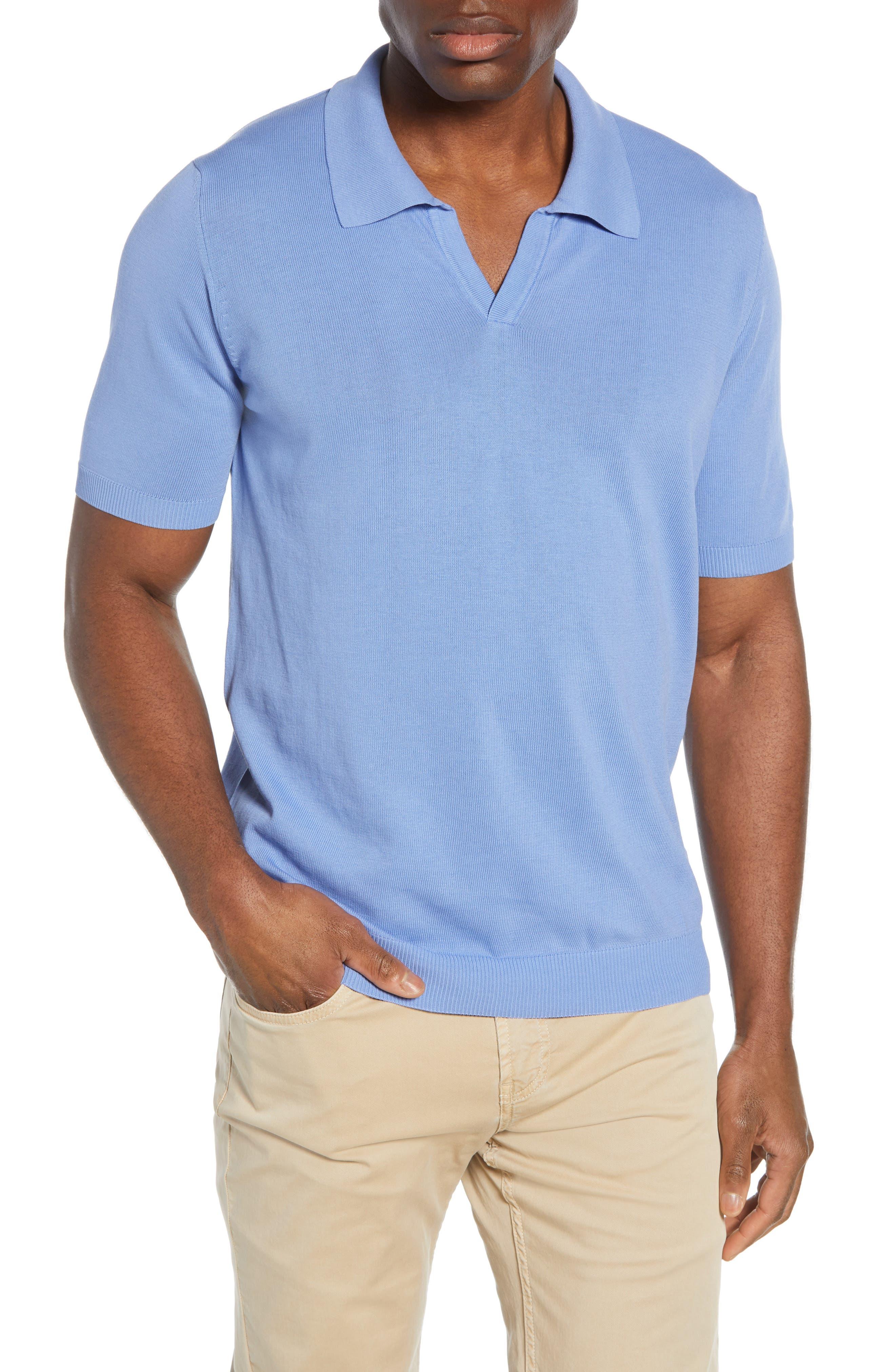 men's bugatchi johnny collar polo, size x-large - blue