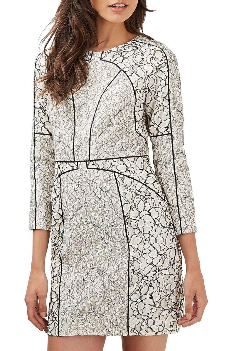 Piped Lace Sheath Dress