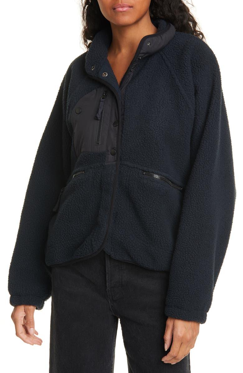 FREE PEOPLE FP Movement Hit the Slopes Fleece Jacket, Main, color, BLACK